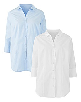 White/Blue Pack of 2 Work Shirts