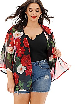 Black Floral Boxy Kimono