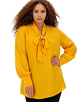 Ochre Long Sleeve Tie Neck Blouse