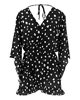 Black/White Kimono Sleeve Wrap Top