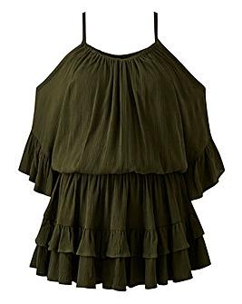Khaki Peasant Sleeve Crinkle Tunic