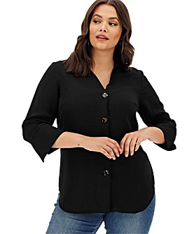 Black Cut Out V-Neck Button Shirt