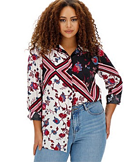 Mix Print Dipped Back Viscose Shirt