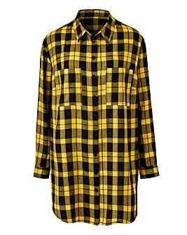 Yellow Check Boyfriend Style Check Shirt