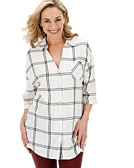 Ivory Oversized Check Shirt
