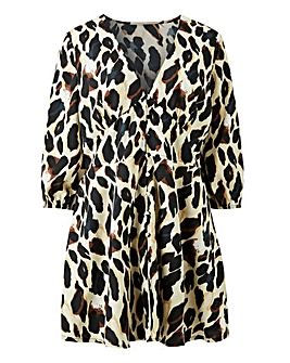 Leopard Print V-Neck Button Front Blouse
