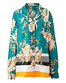 Green Print Pyjama Style Shirt
