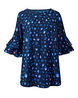 Blue Animal Frill Sleeve Shell Top