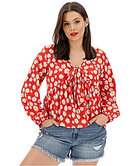 Red Floral Knot Detail Front Blouse