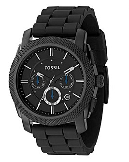 Fossil Mens Machine Black Strap Watch