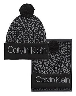 Calvin Klein Monogram Beanie & Scarf Set