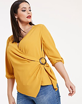 Ochre Buckle Detail Wrap Blouse