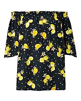 Lemon Print 3/4 Sleeve Bardot Top