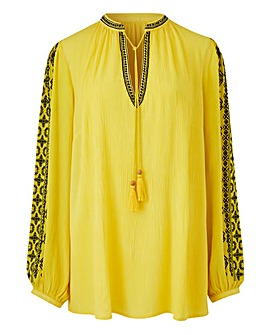 Yellow/Black Embroidered Peasant Blouse