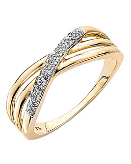 9 Carat Yellow Gold Pave Crossover Ring