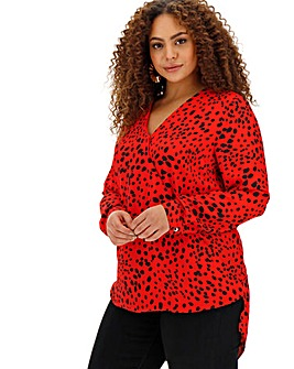 Red Spot Dip Back Wrap Blouse