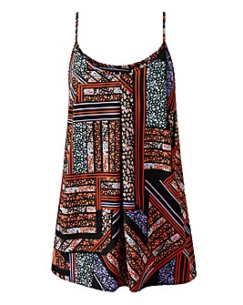 Black/Multi Print Strappy Cami