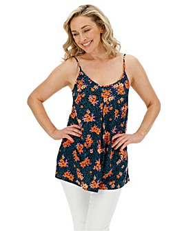 Green/Orange Floral Print Strappy Cami
