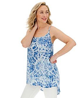 Blue Tie Dye Longline Crinkle Cami