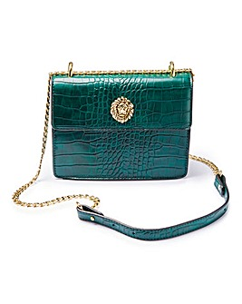 Glamorous Green Croc Shoulder Bag