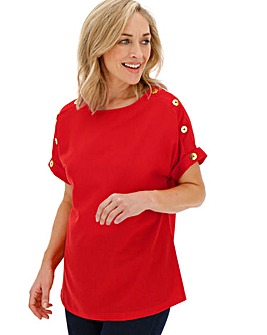 Red Button Detail Boxy Top