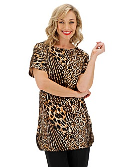 Animal Print Longer Length Boxy Top