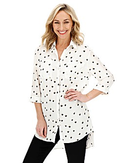 Ivory Spot Longline Oversized Shirt