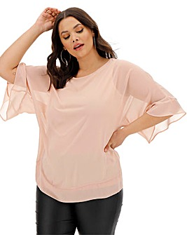 Blush Fluted Sleeve Sheer Blouse