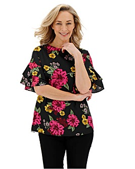 Berry Floral Fluted Sleeve Boxy Top