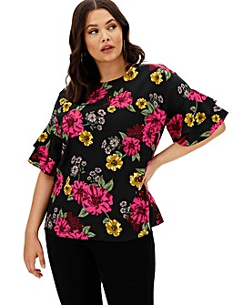 Berry Floral Fluted Sleeve Blouse