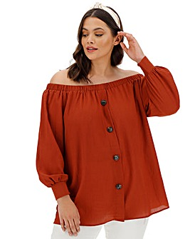 Paprika Long Sleeve Textured Bardot