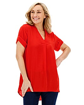 Red V-Neck Short Sleeve Blouse