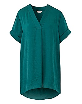 Green V-Neck Short Sleeve Blouse