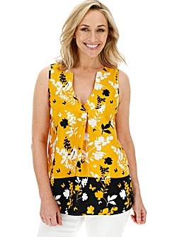 Yellow Print V-Neck Detail Vest