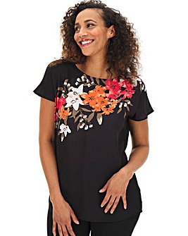 Black Floral Asymmetric Detail Top