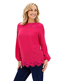 Raspberry Lace Yoke Blouse
