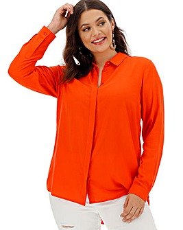 Tomato Orange Dipped Back Viscose Shirt