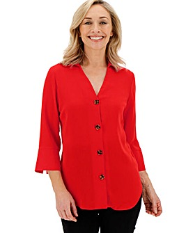 Red Cut Out V-Neck Button Shirt