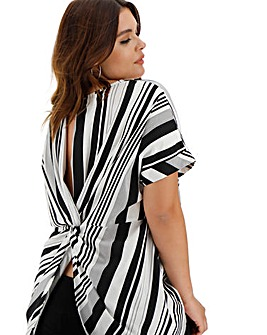 Mono Stripe Twist Back Detail Top