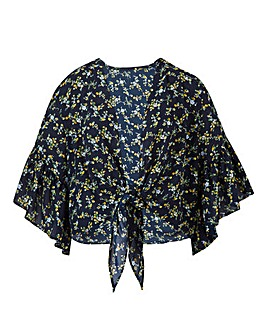 Navy Floral Tie Front Crop Cover Up