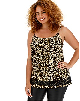 Animal Print Lace Hem Cami