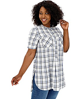Blue & Ivory Short Sleeve Check Shirt