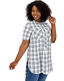 Blue & Ivory Short Sleeve Check Shirt