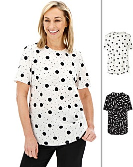 Mono Print Pack of 2 Shell Tops