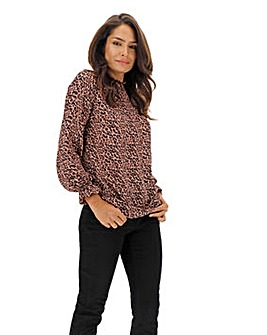 Blush Leopard Shirred Neck Blouse