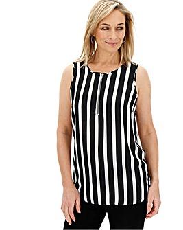 Stripe Print Zip Front Vest Blouse