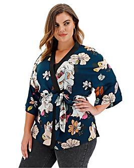 Floral Print Kimono Sleeve Wrap Kimono
