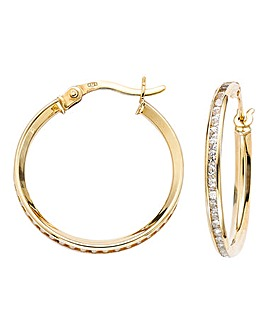 9 Carat Gold CZ Hoop Earrings