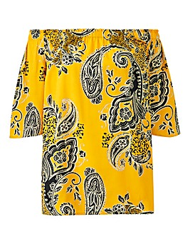 Yellow Print 3/4 Sleeve Bardot Top