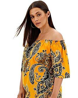 Yellow Print 3/4 Sleeve Bardot Top